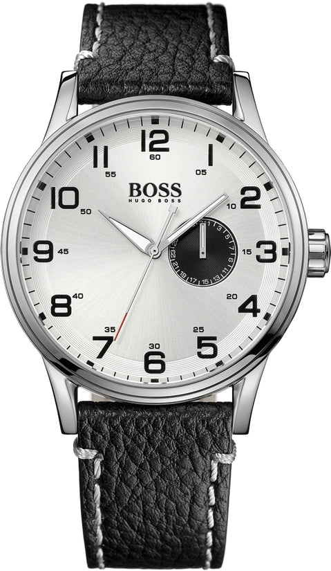 HB2006 Men's Black Leather Silver Dial