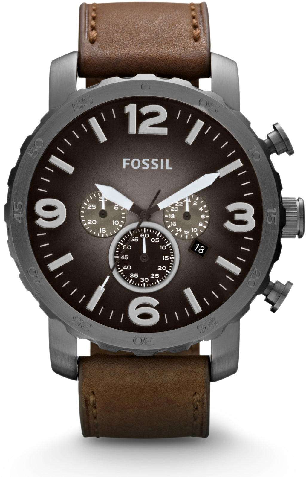 Nate Chronograph Brown Leather Black Faded Dial