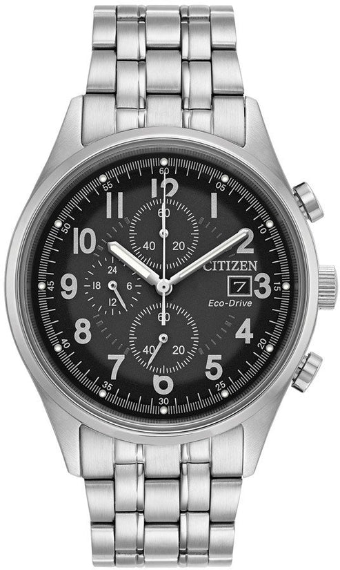 Chandler Black Chronograph Silver Tone Stainless Steel
