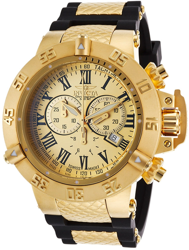Subaqua Men's Polyurethane/Stainless Steel Gold Dial