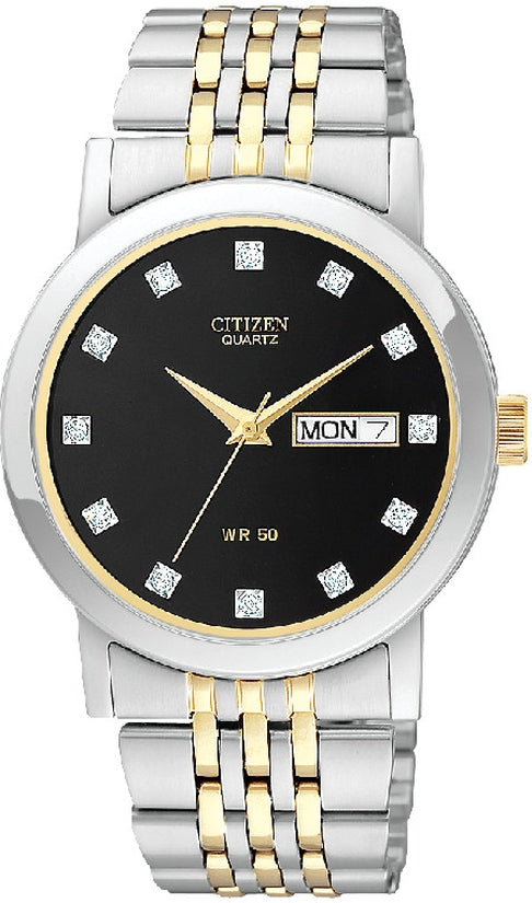 Black Dial Crystal Two-Tone Stainless Steel Mens Watch BK4054-53E