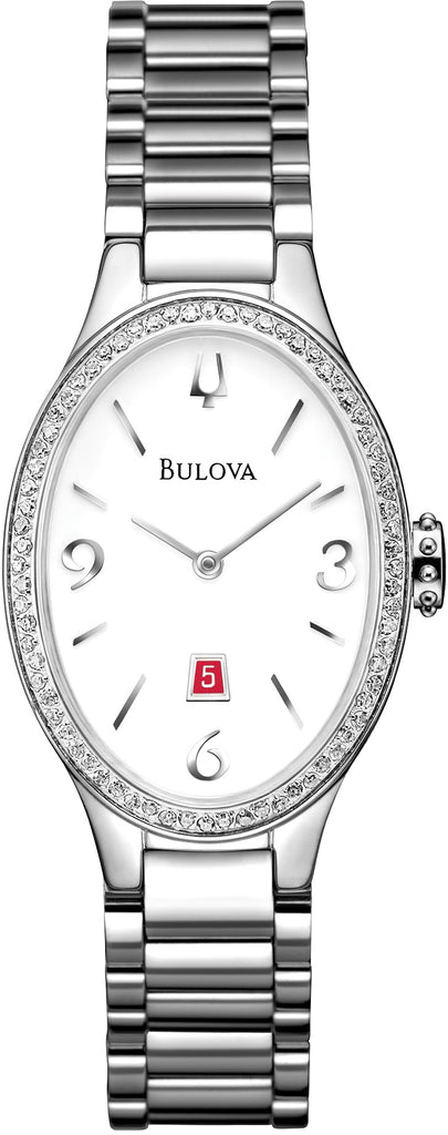 Diamond Gallery Oval Analog White Dial Stainless Steel Women's Watch 96R192