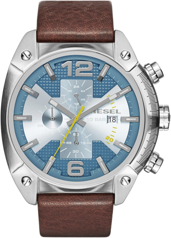 Overflow Chronograph Silver Tone Brown Leather