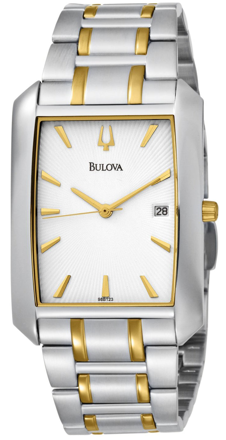 Analog White Dial Two-Tone Stainless Steel Men's Watch 98B123