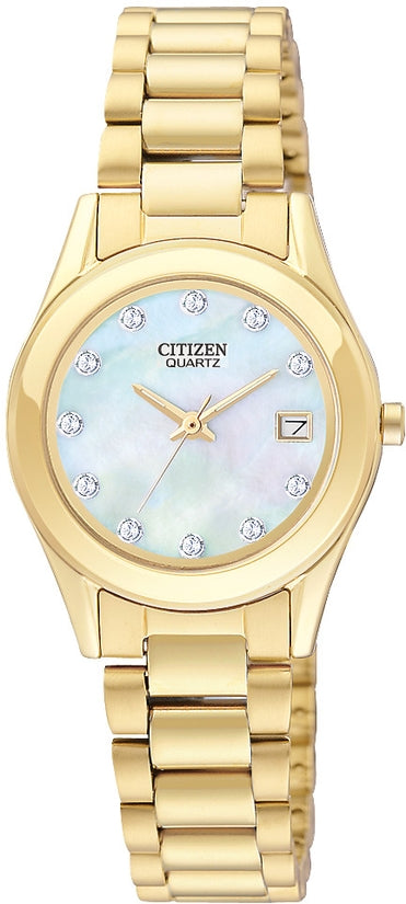 Swarovski Crystal MOP Dial Gold Tone Stainless Steel Womens Watch EU2662-54D