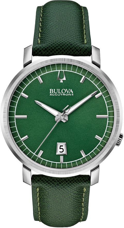 96B215 Accutron II Telluride Green Dial Leather Strap Mens Watch