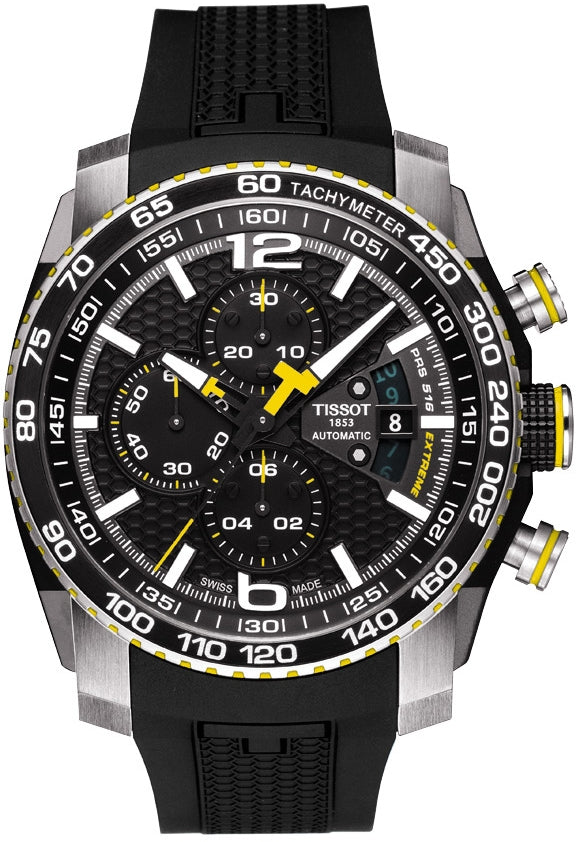 67b01aab Tissot PRS 516 Extreme Automatic Chrono Men's Black Dial Watch with Black  Rubber Strap and Yellow Accents - the-time-store1