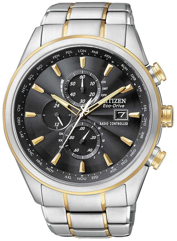 AT8014-57E World Chronograph Grey Dial Stainless Steel Strap Men's Watch