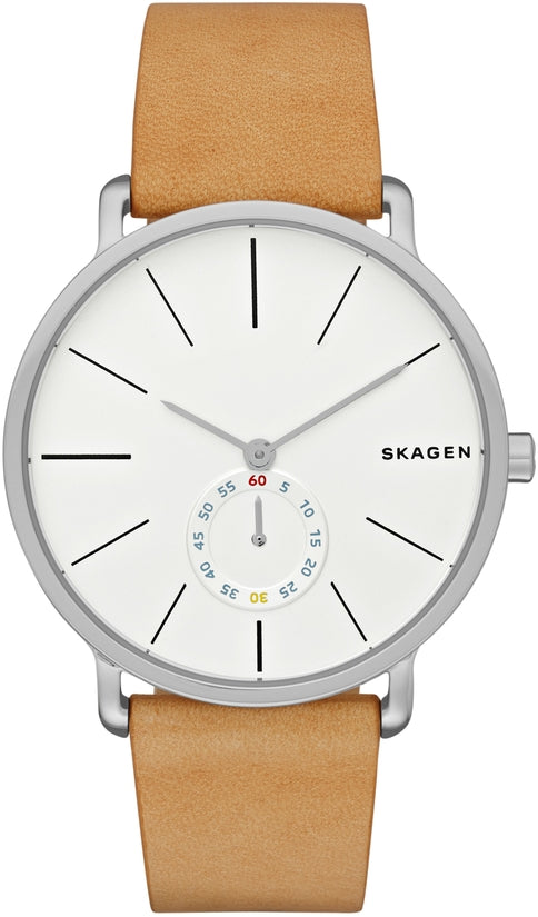 Hagen Tan Leather White Dial