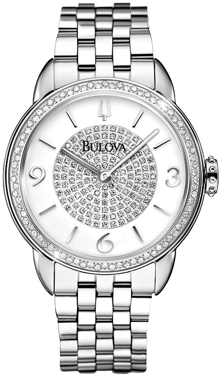 Analog Diamond Dial And Bezel Stainless Steel Womens Watch 96R184