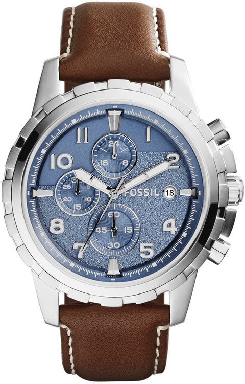 Dean Chronograph Blue Dial Brown Leather