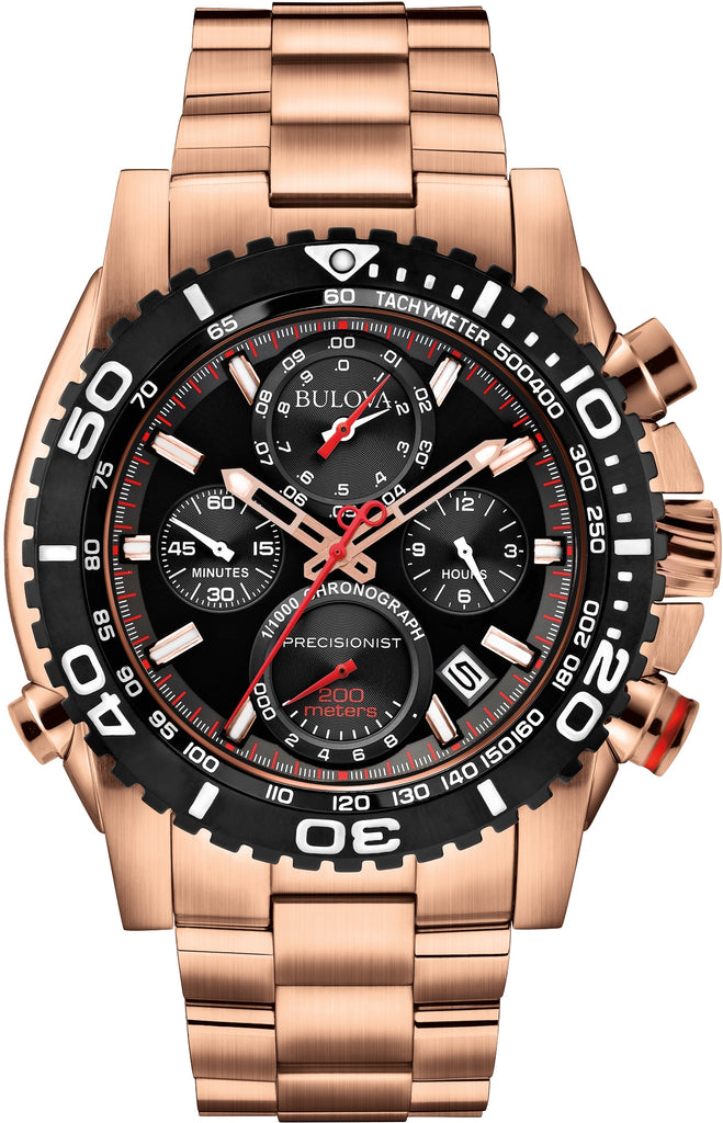98B213 Chronograph Precisionist Black Dial Rose Gold Tone Stainless Steel Strap Mens Watch