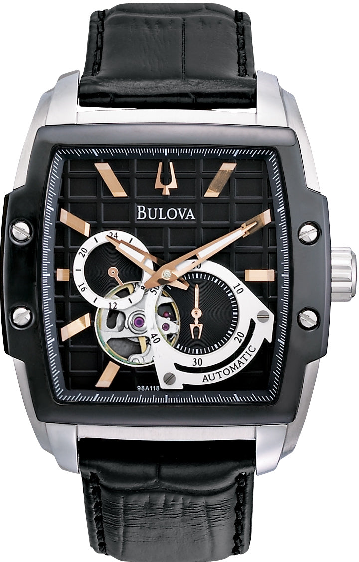 BVA Series Automatic Black Dial Analog Leather Strap Men's Watch 98A118