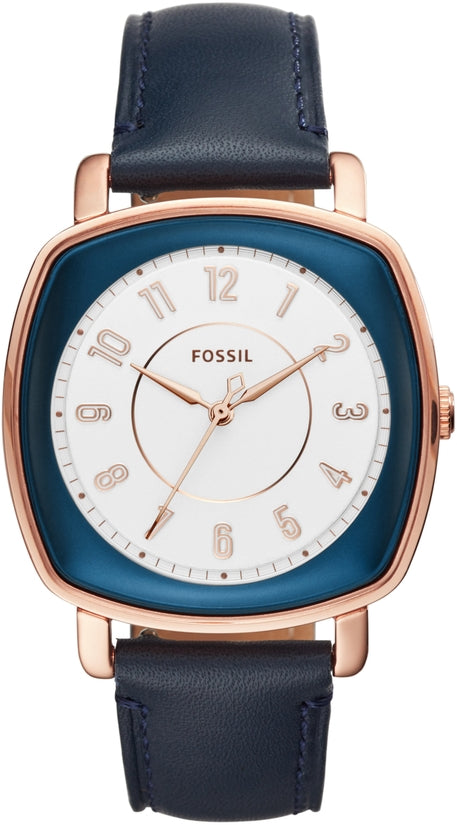 Idealist Rose Gold Tone Navy Blue Leather