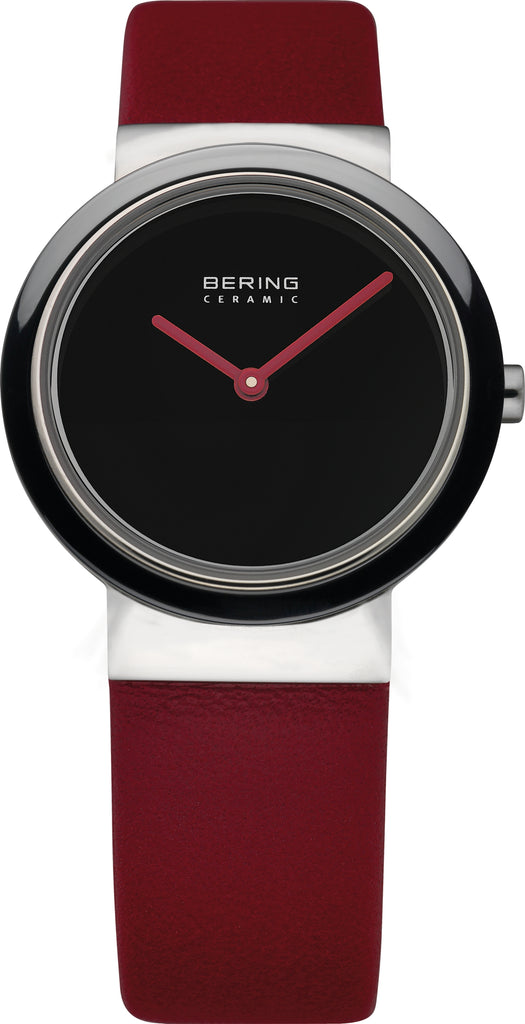 Women's Red Leather Black Dial