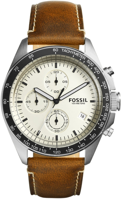 Sport 54 Chronograph Beige Dial Brown Leather