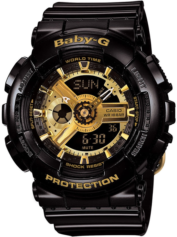 Baby-G BA110-1A Gold Tone Analog-Digital Black Resin Strap Womens Watch