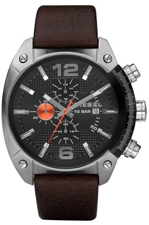 Overflow Chronograph Brown Leather Black Dial