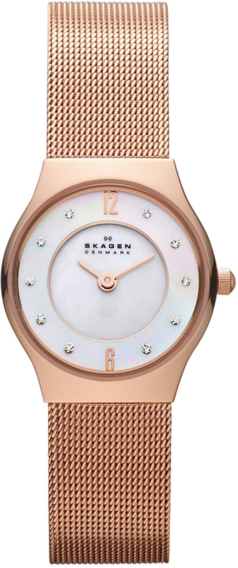 233XSRR Grenen White Dial Rose Gold Tone Stainless Steel Strap Women's Watch
