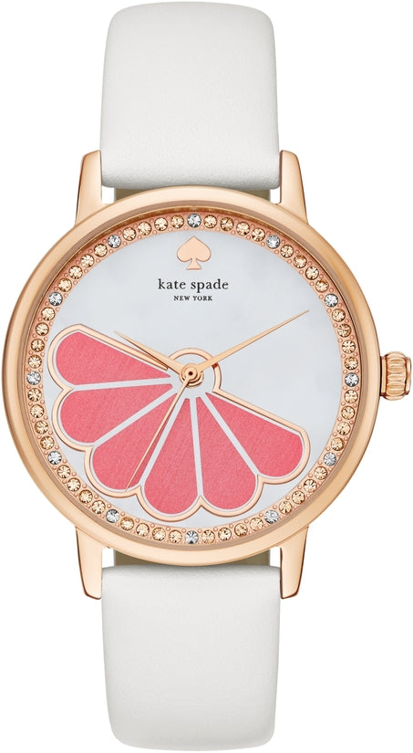 Metro White Leather Mother of Pearl Designed Dial