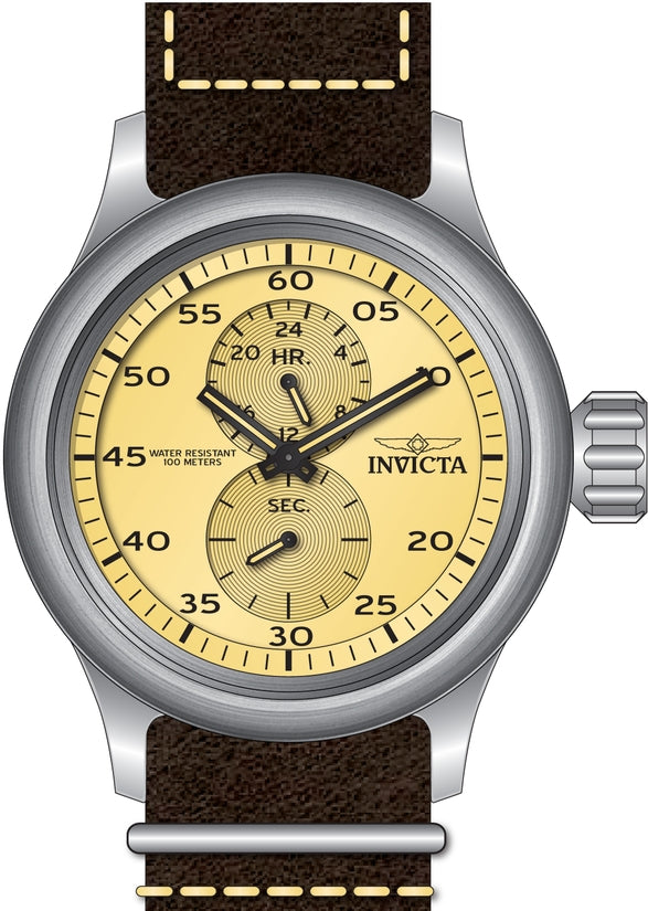 Russian Diver Men's Leather Ivory Dial