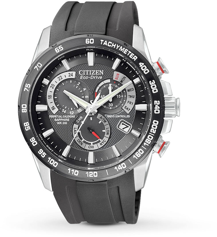 AT4008-01E Perpetual Chronograph Black Dial Rubber Strap Men's Watch