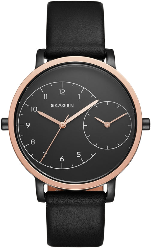 Hagen Dual Time Black Leather