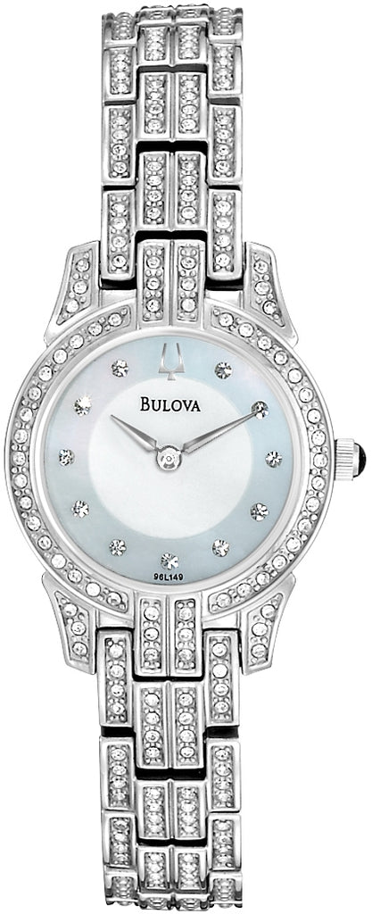 Crystal MOP Dial Analog Stainless Steel Women's Watch 96L149