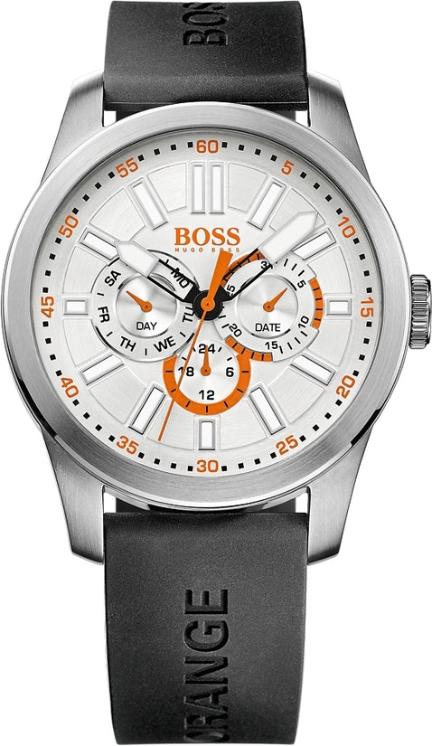 Paris Men's Black Silicone Silver & White Dial