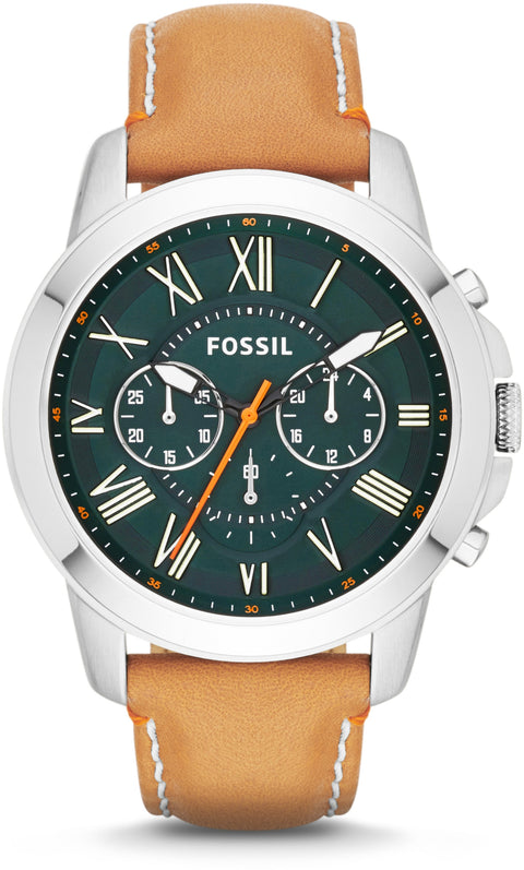 FS4918 Grant Chronograph Green Dial Tan Leather Strap Men's Watch