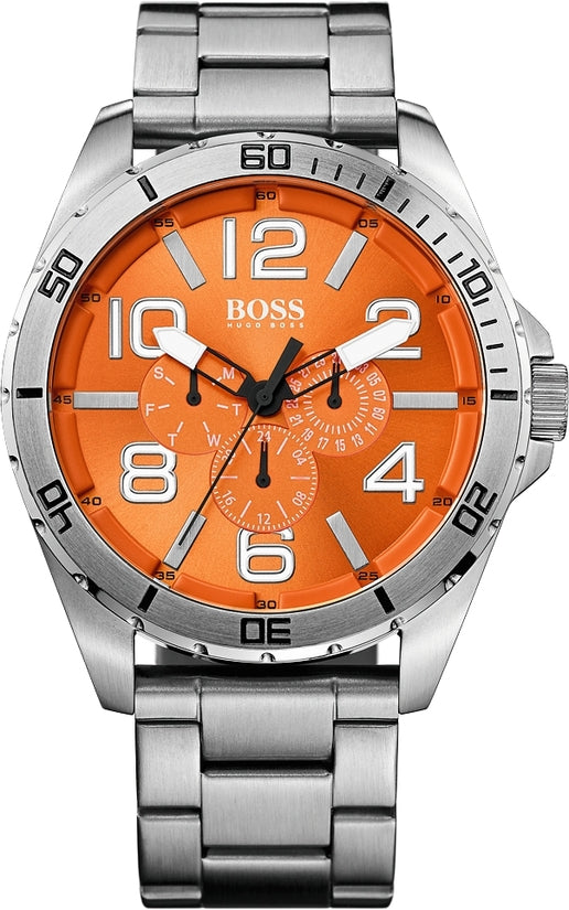 Berlin Men's Stainless Steel Orange Dial