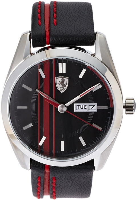 Black Red Dial & Leather