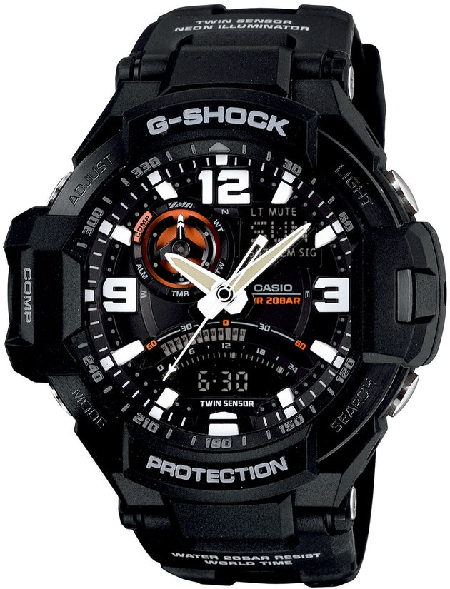 G-Shock Aviation Chronograph Thermometer Black Resin Mens Watch GA1000-1A