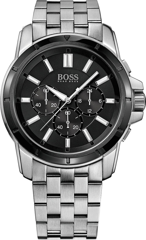 HB302 Men's Stainless Steel Black Dial