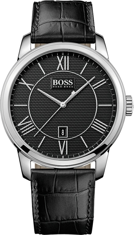 Classico Men's Black Leather Black Dial