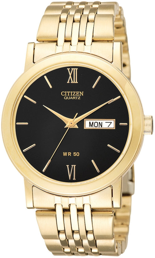 Black Dial Analog Gold Tone Stainless Steel Mens Watch BK4052-59E