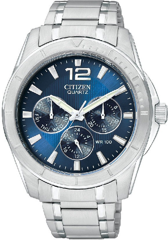 Multifunction Blue Dial Silver Tone
