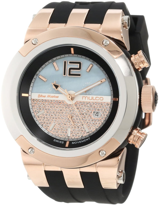 Bluemarine Chronograph Rose Gold Glass Blue-Grey Dial Black Silicone Strap Unisex Watch MW5-1621-022