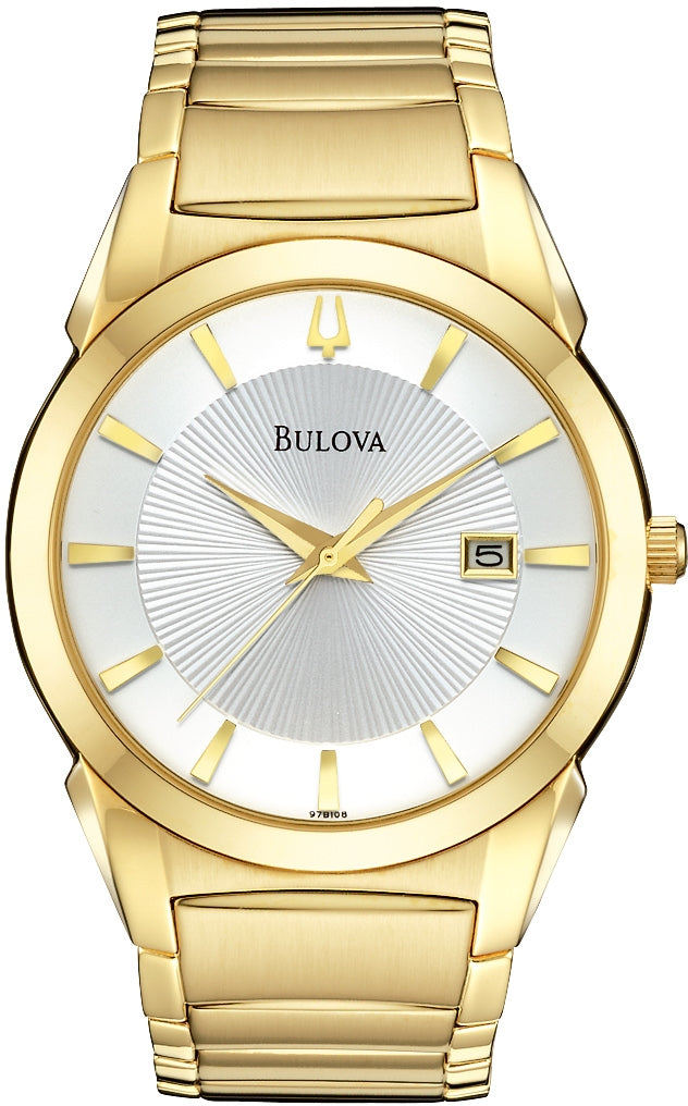 Dress White Dial Gold-Tone Stainless Steel Men's Watch 97B108