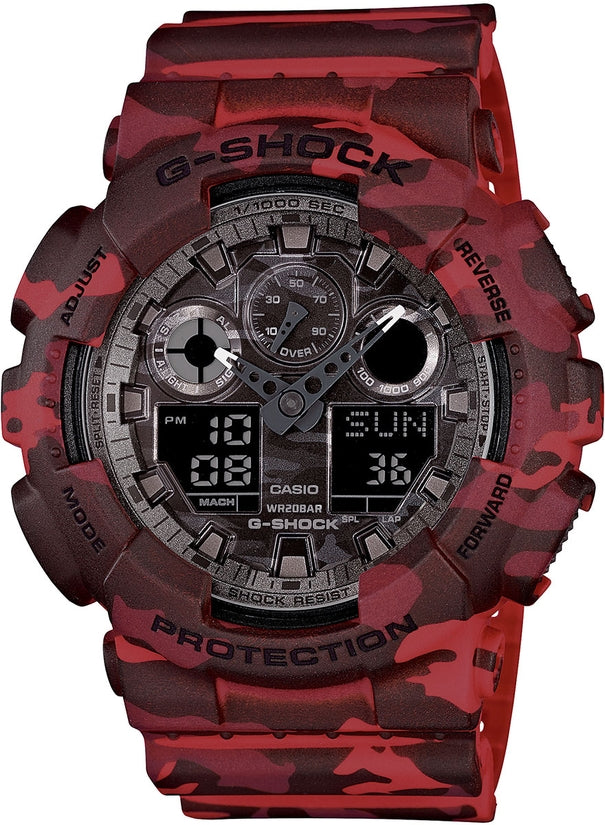 Analog Gray Dial Red Camo