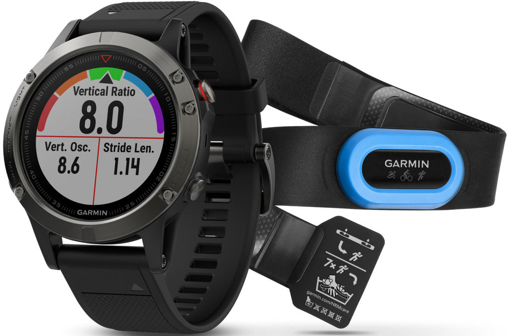 Fenix 5 Slate Grey with Black Band Multisport Training GPS Performer Bundle