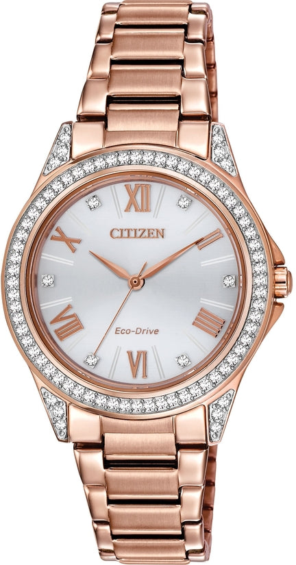 EM0233-51A POV Silver Dial Gold-Tone Stainless Steel Strap Women's Watch