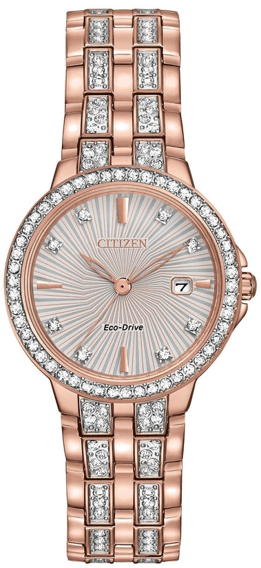 Silhouette Crystal Designed Dial Rose Gold Tone