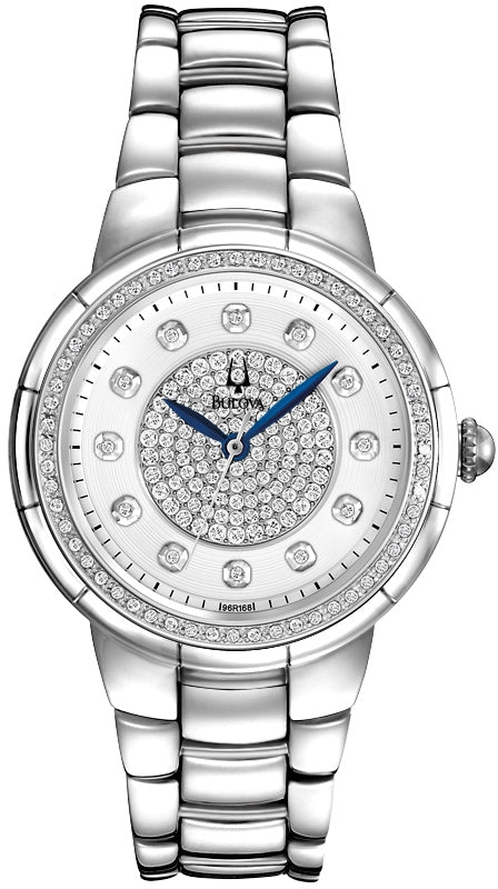 Rosedale Diamond Accented White Dial Stainless Steel Women's Watch 96R168