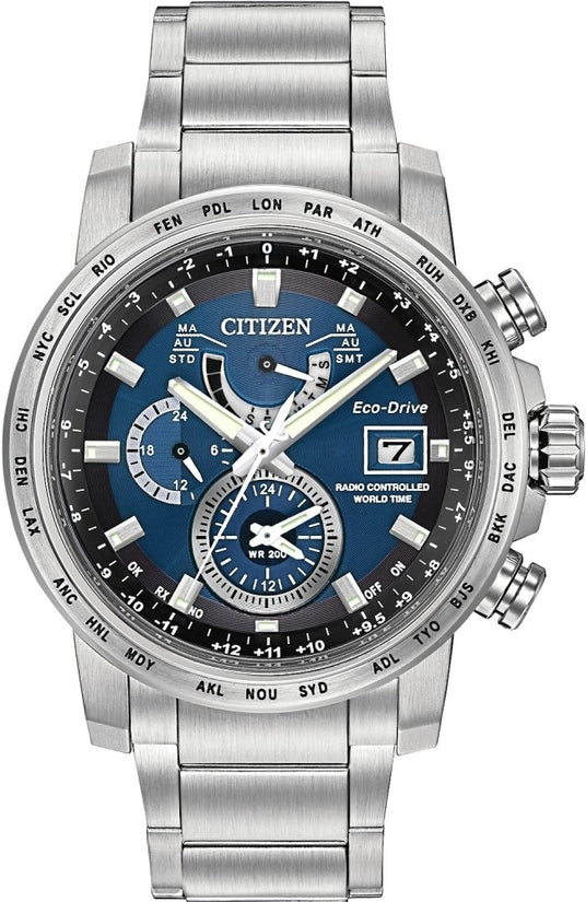 World Time A-T Silver Tone Blue Dial