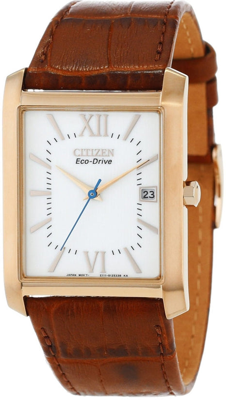 Gold Tone White Dial Brown Leather Strap Mens Watch BM6788-05A
