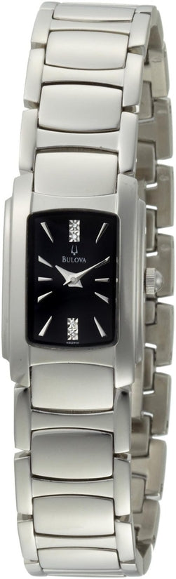 Diamond Accented Black Dial Analog Stainless Steel Women's Watch 96P110