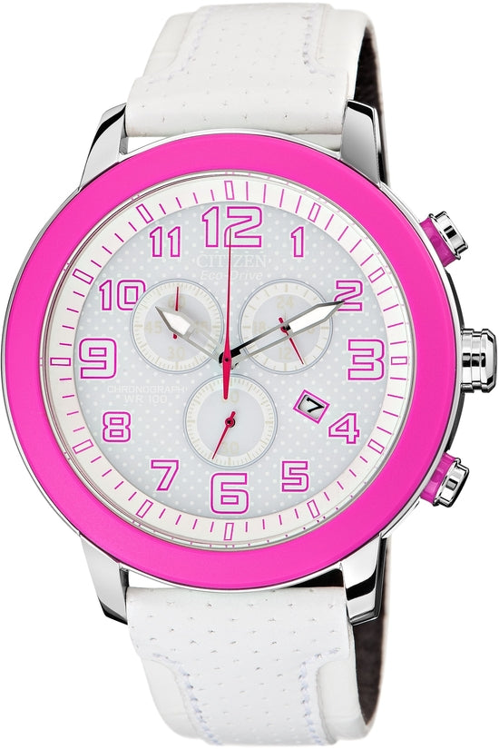 AT2230-03A BRT 3.0 Chronograph White Dial Leather Strap Women's Watch