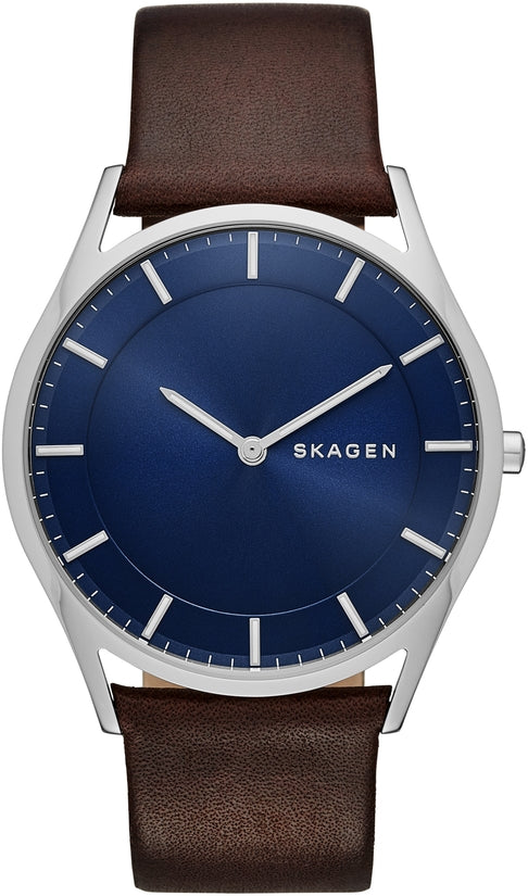 Holst Dark Brown Leather Blue Dial