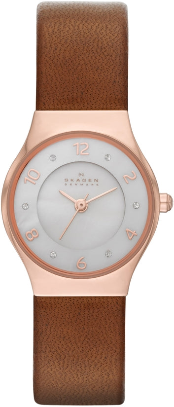 SKW2210 Grenen White Dial Brown Leather Strap Women's Watch